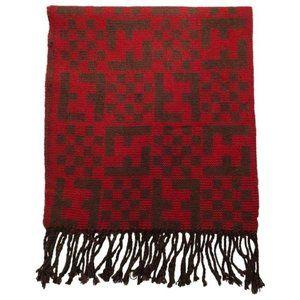 FENDI Red Brown Zucca Print Logo Wool Wrap